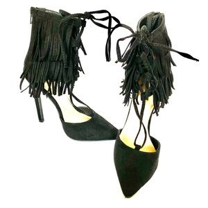 JUST FAB Fringed Ankle Pumps